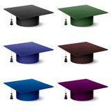Set of of colorful hats graduate Royalty Free Stock Photography