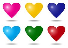 Set of colorful heart icons. Vector illustration royalty free illustration