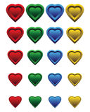 A set of colorful hearts. Twenty different, colored, plastic hearts Royalty Free Stock Photos