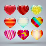 Set with colorful hearts 3d. Vector Illustration Stock Photos