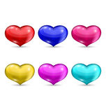 Set colorful hearts isolated on white background Stock Images