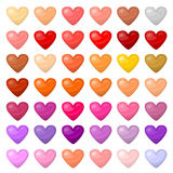 Set of colorful hearts. Palitra of different colors Stock Image