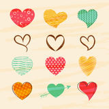 Set of colorful hearts for Valentines Day celebration. Royalty Free Stock Photography
