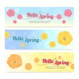 Set of colorful hello spring season banner Stock Photo