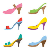 Set Of Colorful High Heels Shoes Royalty Free Stock Images