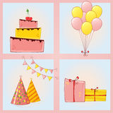 Set of colorful holiday icons. Royalty Free Stock Photos