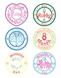 Set of Holiday Stamps. Set with 6 colorful holiday stamps. Hand-drawn creative design for New year, Valentine`s day, March 8, Mother`s Day Royalty Free Stock Images