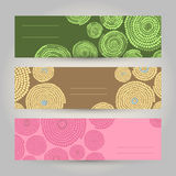 Set of Colorful Horizontal Banners. Abstract African ornament. V. Set of African Banners. Abstract Tribal illustration set. Vector design for print, flyer or Royalty Free Stock Photography
