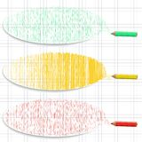 Set of colorful horizontal banners with hatching and pencils. Royalty Free Stock Photography