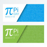 Set of colorful horizontal banners for Pi Day. Pi number, Pi sign,  mathematical constant, irrational number Royalty Free Stock Photos