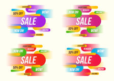 Set of colorful horizontal dynamic style sale banner designs. Ve Royalty Free Stock Image