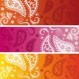 Set of colorful horizontal paisley banners Royalty Free Stock Image