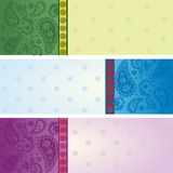 Set of colorful horizontal saree banners Stock Photo