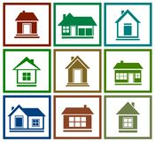 Set  colorful house icon Royalty Free Stock Photos