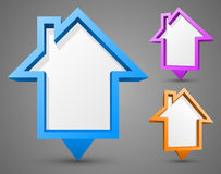Set of colorful house pointers. With place for your content. Vector illustration Stock Photo