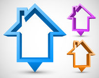 Set of colorful house pointers Royalty Free Stock Photos