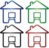 Set colorful house and TV Stock Photos
