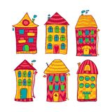 Set colorful houses in cartoon style Royalty Free Stock Photography