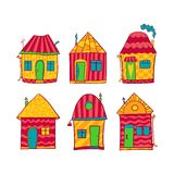 Set colorful houses in cartoon style Stock Image