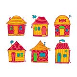 Set colorful houses in cartoon style Royalty Free Stock Photo