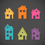 Set of colorful houses icons Royalty Free Stock Photos