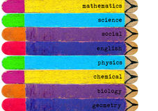 set of colorful ice cream sticks with written List of Subjects Royalty Free Stock Photo