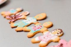 Set of colorful iced gingerbread cookies man figures Stock Images