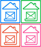 Set colorful icon - symbol mail delivery Royalty Free Stock Photography