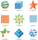 Set of colorful icons. A set of colorful, abstract icons or design elements including stars, globes, woven matrix, pyramid, a cube, and an artistic flower Stock Photos