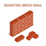 Set of colorful icons of bricks. Vector illustration. Set of colorful icons of bricks and a brick wall. Isometric, 3D Royalty Free Stock Photos