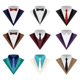 A set of colorful icons of suit and tuxedo. Flat style isolated on white background. Vector illustration of holiday and classic suits. Clothes with a tie or a Vector Illustration