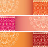 Set of colorful Indian henna elephant mandala horizontal banners Stock Images