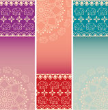 Set of colorful Indian henna elephant mandala vertical banners Royalty Free Stock Photo