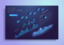 Set of colorful infographic vector elements: presentation graphics, statistics of data and diagrams. 3d isometric design. stock illustration