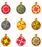 Set of 9 colorful isolated Christmas balls with modern ornament Stock Photo