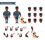 Set of colorful isolated vector policeman at work. Stock Photos