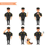 Set of colorful isolated vector policeman at work. Royalty Free Stock Images