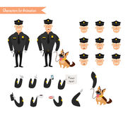 Set of colorful isolated vector policeman at work. Royalty Free Stock Photos