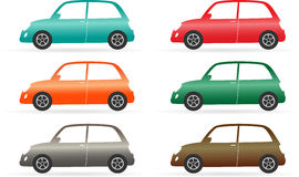 Set of colorful isolated vintage car Stock Images