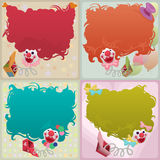 Set of 4 colorful jack in the box puppets. Set of cards - colorful jack in the box puppets popping out of boxes with copyspace for your text Royalty Free Stock Images