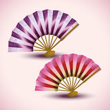 Set of colorful Japanese fans  Royalty Free Stock Photo