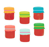 Set from colorful jars, vector illustration. Set from jars with fruit and berry jam stock illustration