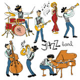 Set Of  Colorful Jazz Musicians. Stock Photos