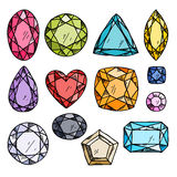 Set of colorful jewels. Stock Photos
