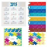 Set of Colorful and Jigsaw Calendar 2015 Stock Images