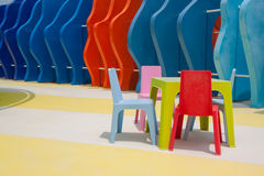 Set of colorful  kid chairs and table Stock Images