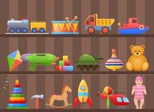 Set colorful kids, children`s toys cartoon, on shelf of cabinet. Set colorful kids children`s toys cartoon. Toys for child, on shelf of cabinet. Store counter stock illustration