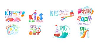 Set of colorful kids club care and education center symbols drawn with aquarelle technique.  vector illustration