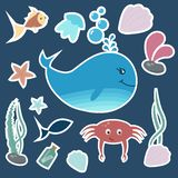 Set of colorful kids stickers. stock illustration