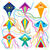 Set of colorful kites. Stock Images